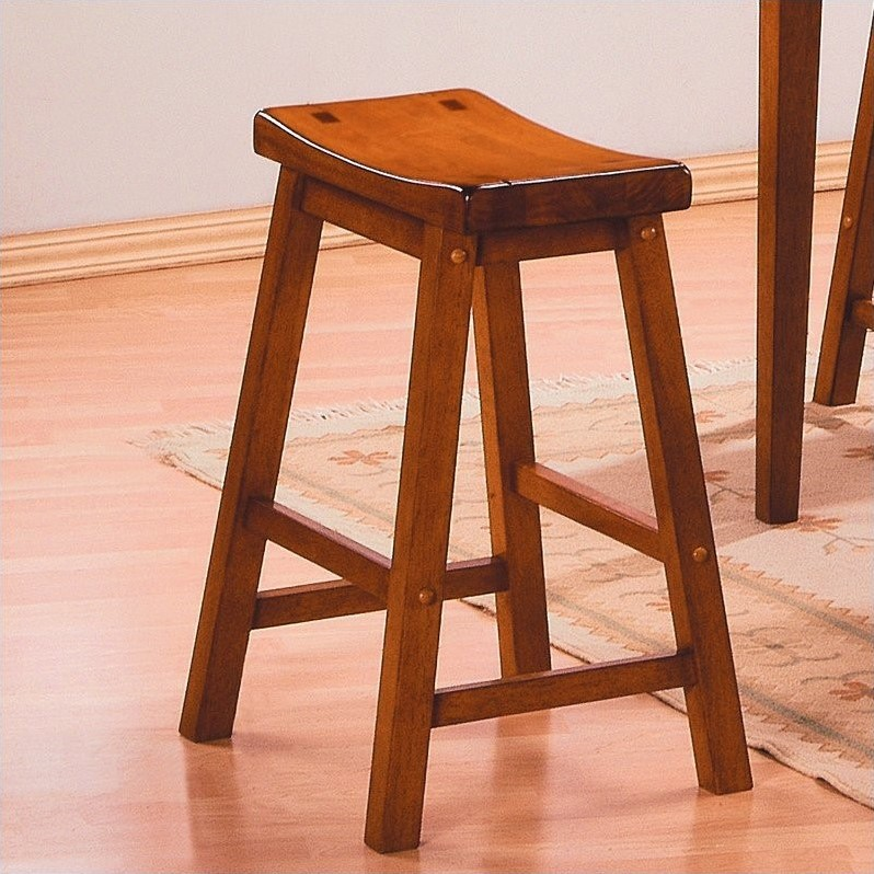 Trent Home Saddleback 18 Quot Bar Stool In Oak Set Of 2