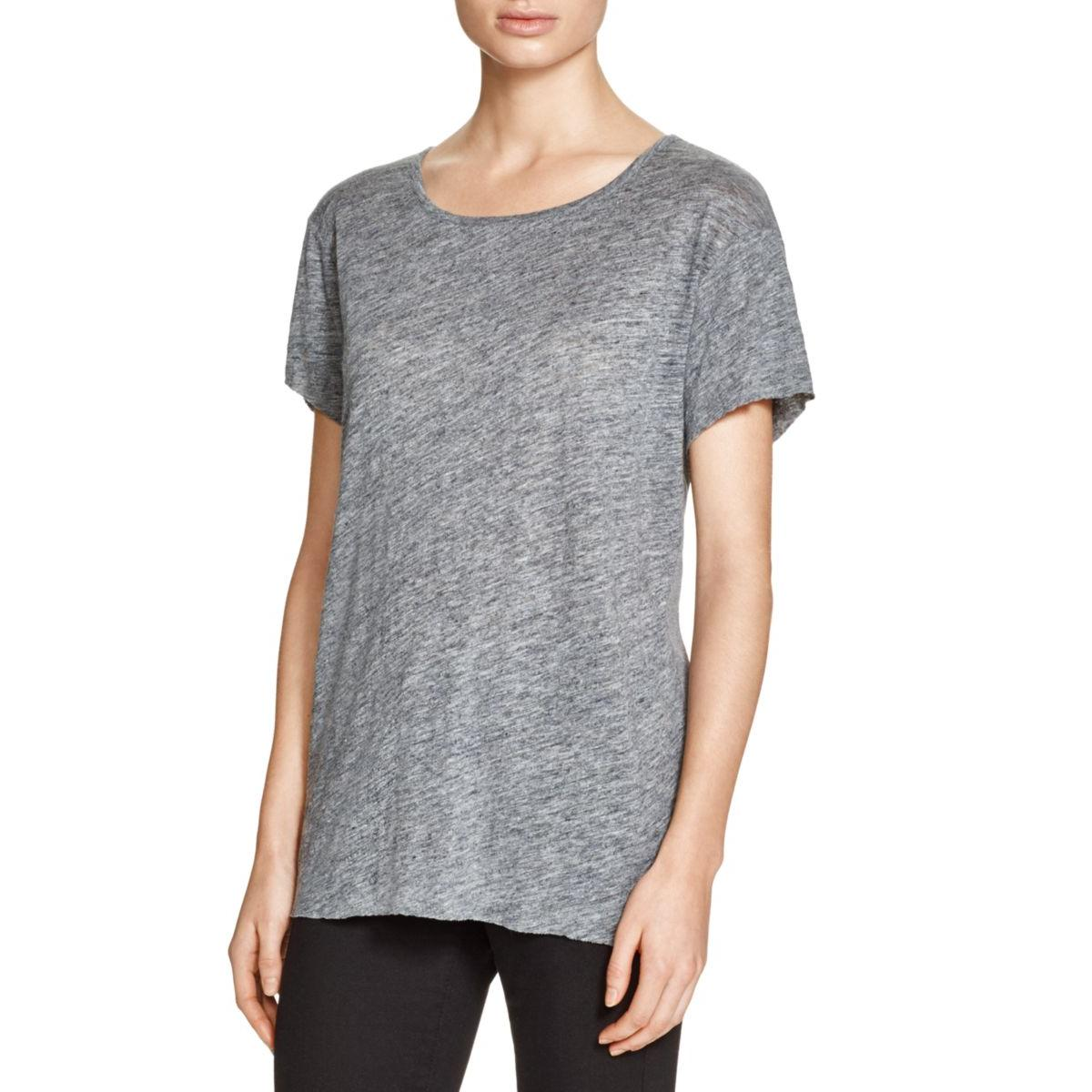 Alternative Apparel Womens Linen Ribbed Trim Casual Top