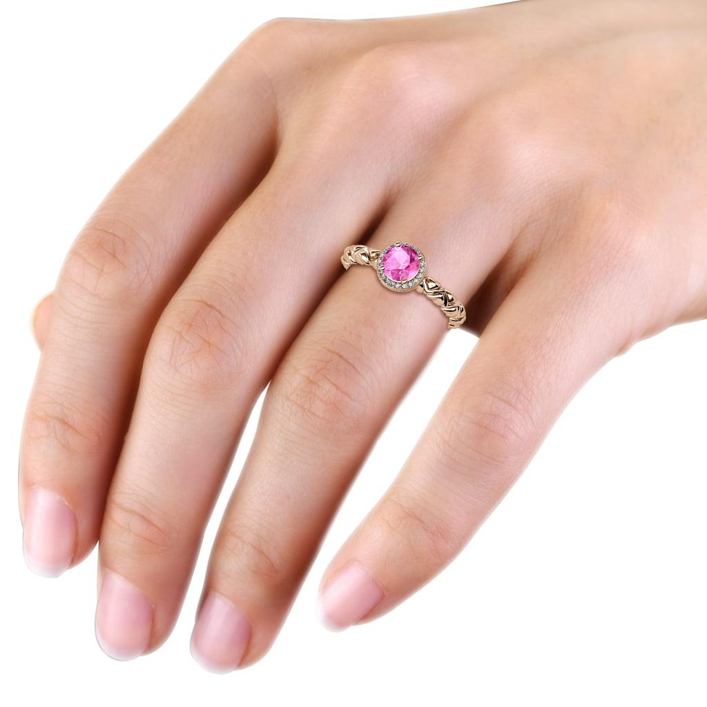 Pink Sapphire Diamond Cascading Heart Shank Halo Engagement Ring 14K ...
