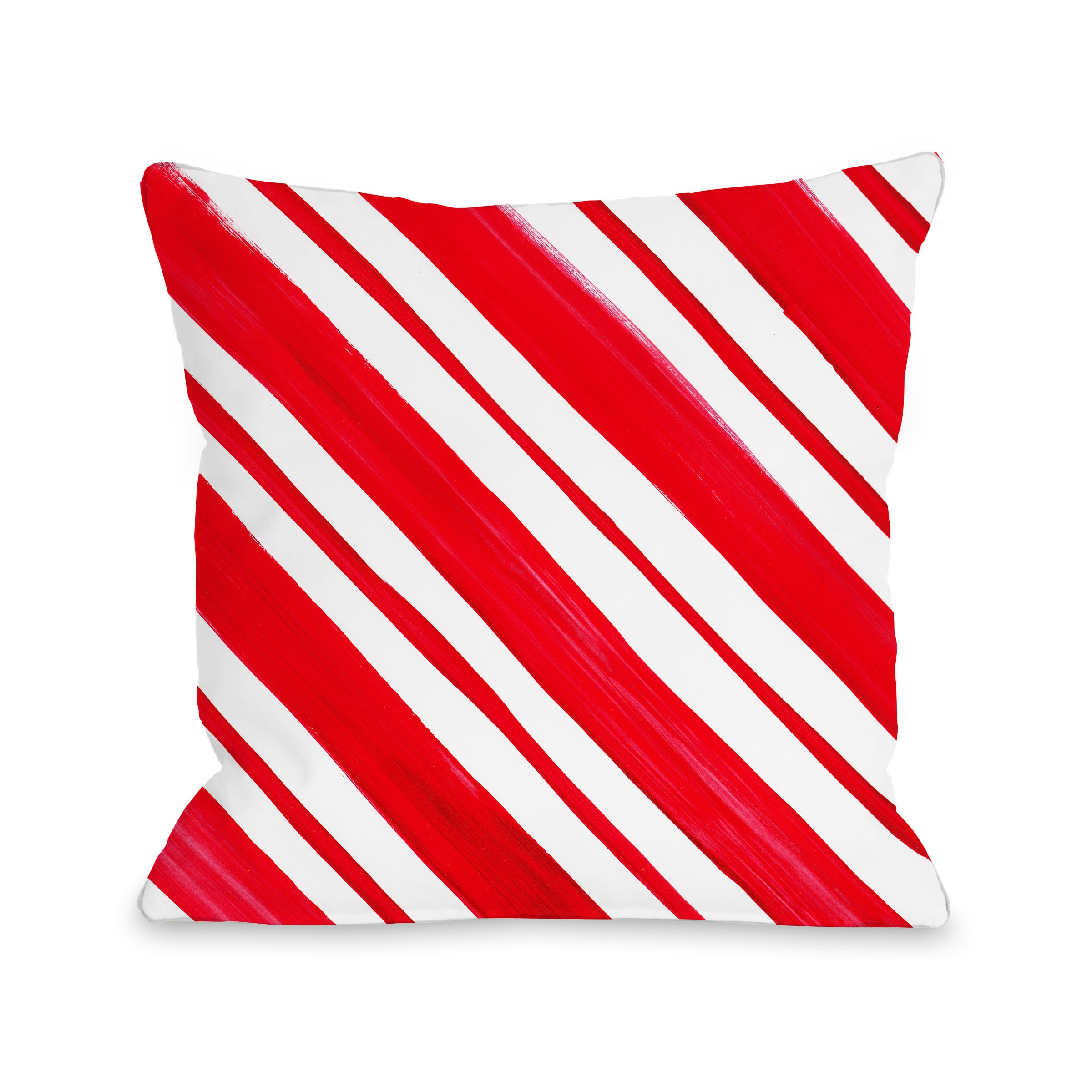 Candy Stripe - Red 18x18 Pillow by Timree Gold