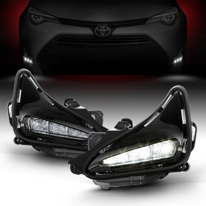 Fits 2017 2018 Toyota Corolla Driver+Passenger Side LED Fog Lights Pair w/Switch