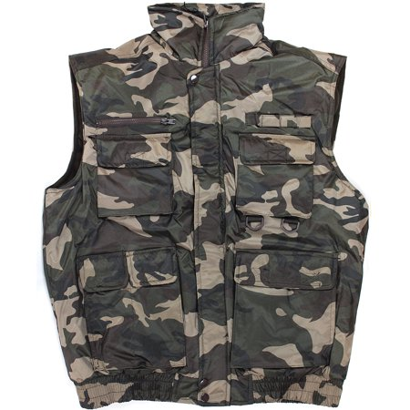 Camo Brown Mens Winter Outdoor Cotton Padded Waterproof Vest Multi Pocket - Bullet Proof Vest Halloween
