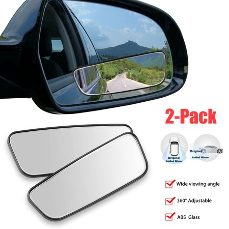 TSV Blind Spot Mirrors, 360 Degree Rotate Adjustable Square Blind Spot Mirror, Waterproof Glass Car Blind Wide Mirror for Traffic Safety, (Water Spots On Car Windows Wont Come Off)
