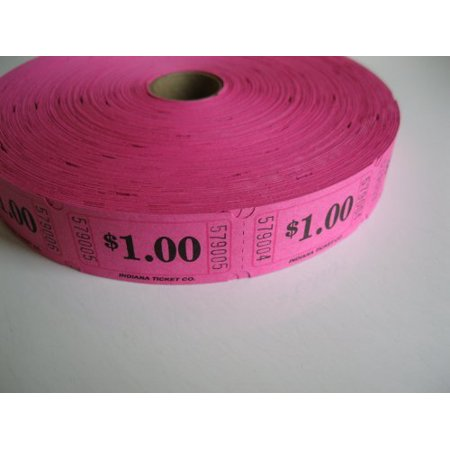 2000 Hot Pink $1 Single Roll Consecutively Numbered Raffle Tickets, 2000 Hot Pink $1 Single Roll Raffle Tickets By 50/50 Raffle Tickets Ship from US
