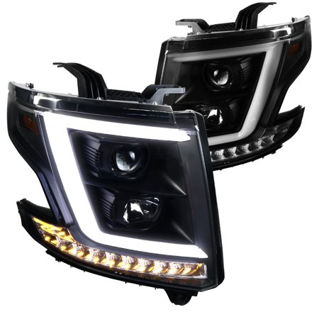Spec D Tuning 2017 Chevy Tahoe Gmc Suburban Pickup Black Led Drl Projector Headlights Lamps Signal 2016 Left Right