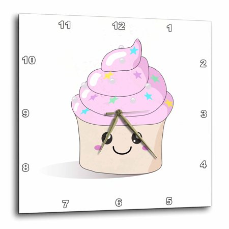 3dRose Cute pink happy Cupcake with stars and silver pearls - Kawaii Smiley smiling desserts and cupcakes - Wall Clock, 10 by 10-inch ()