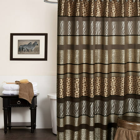 Popular Bath Safari Stripes 70 x 72 Fabric Bathroom Shower Curtain - Walmart.com