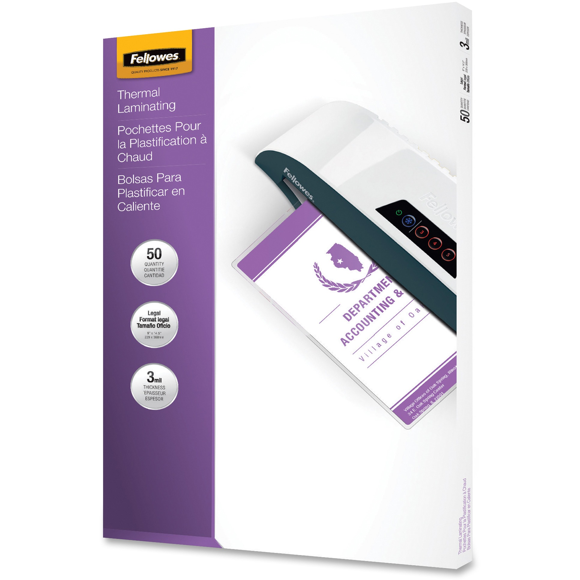 Fellowes, FEL52226, Legal-size Glossy Pouches, 50 / Pack, Clear