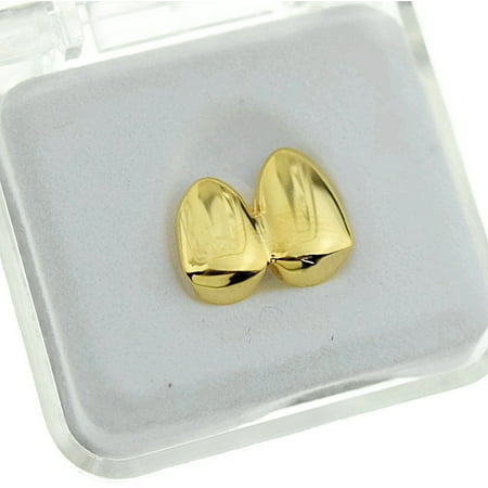 14k Gold Plated Double Two Tooth Grillz Right Side 2-Tooth Duece Caps Slugs Hip Hop Grills ()