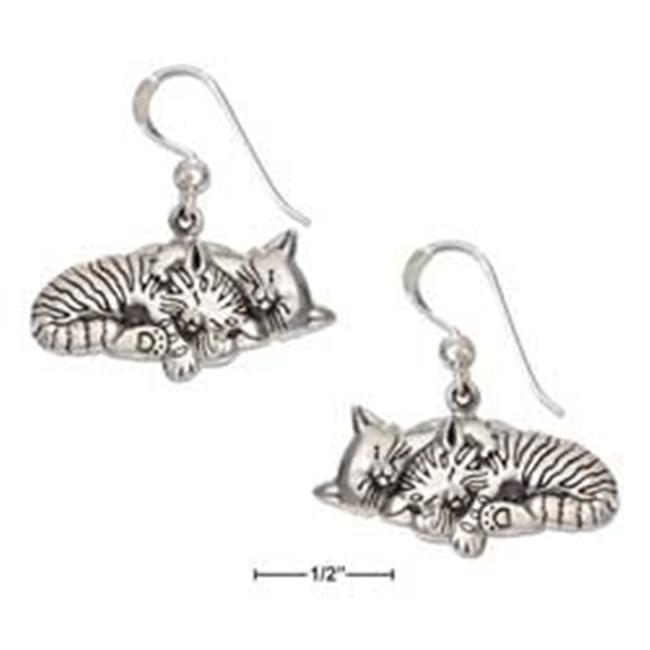 Plum Island Silver EA-2734 Sterling Silver Two Antiqued Sleeping Kitty Cat Earrings on French Wires