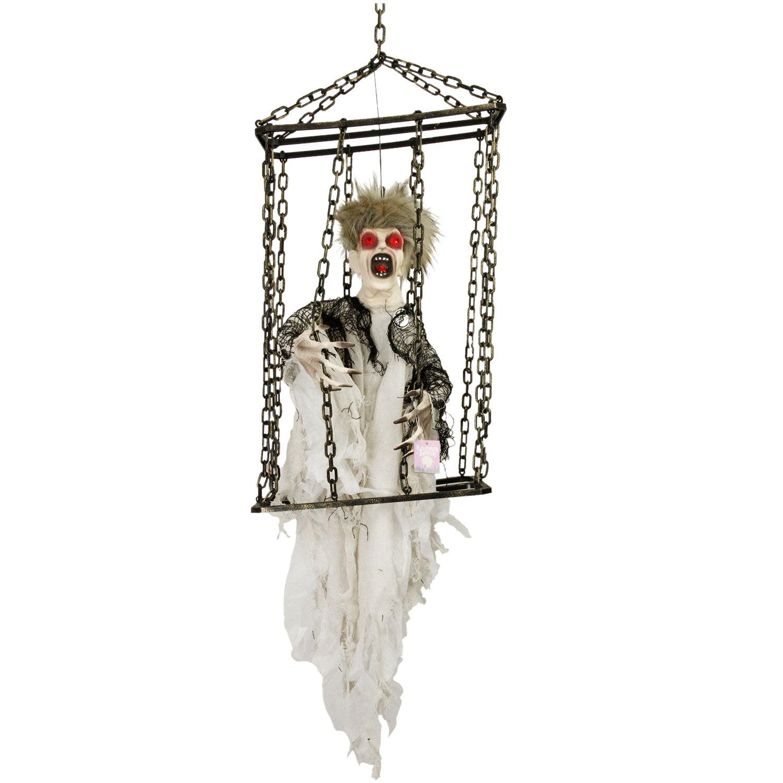 Hanging Skeleton Moving//Flashing Eyes Halloween Party Decoration Prop