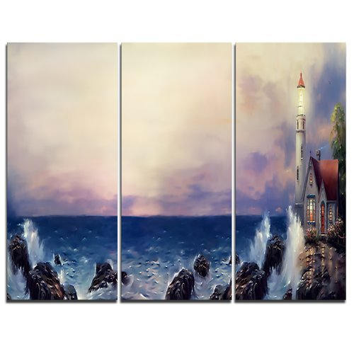 Design Art Lighthouse Sea Panoramic - 3 Piece Graphic Art on Wrapped Canvas Set