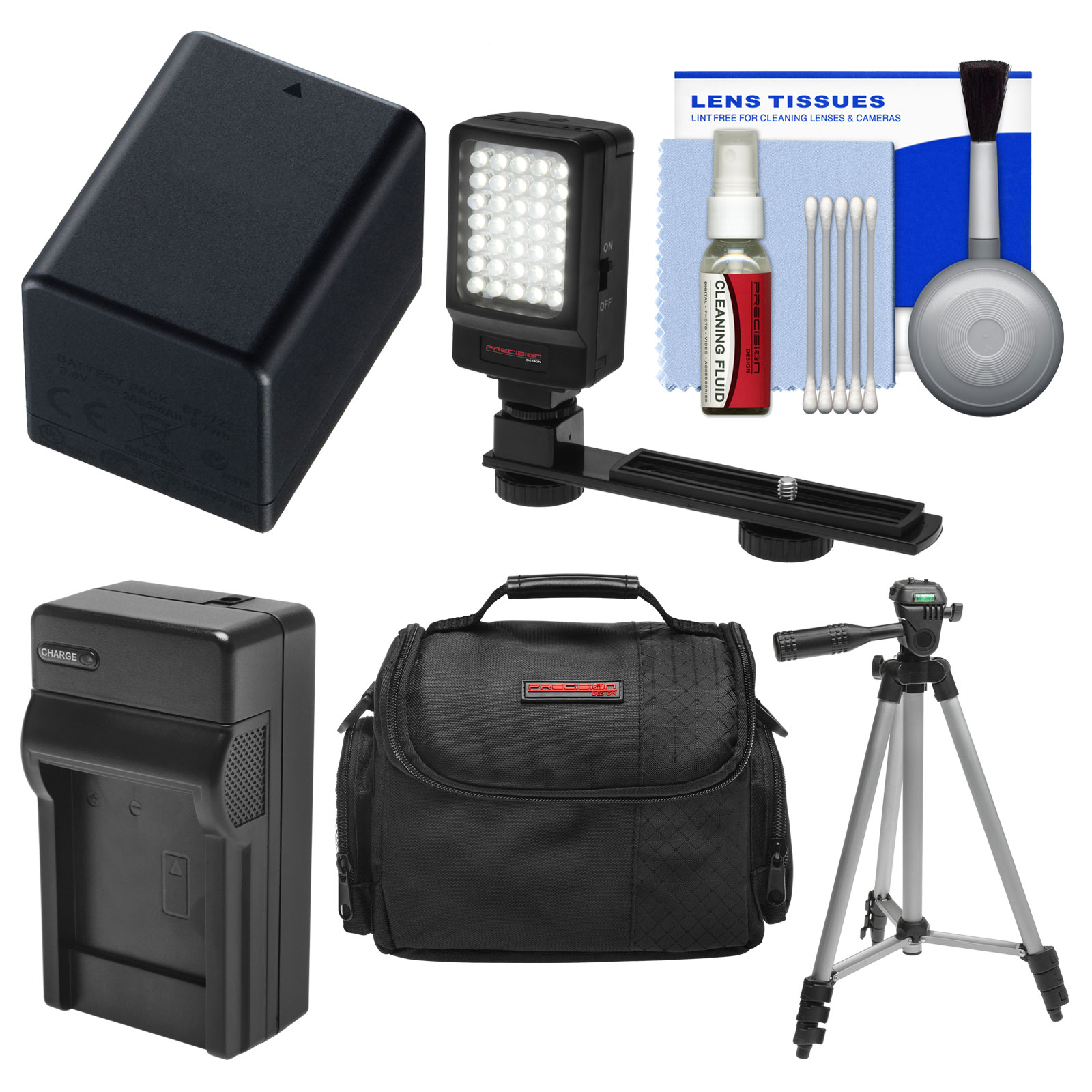 Essentials Bundle for Canon Vixia HF R60, R600, R62, R70, R700, R72 Camcorder with Case + LED Light + BP-727 Battery & Charger + Tripod + Cleaning Kit