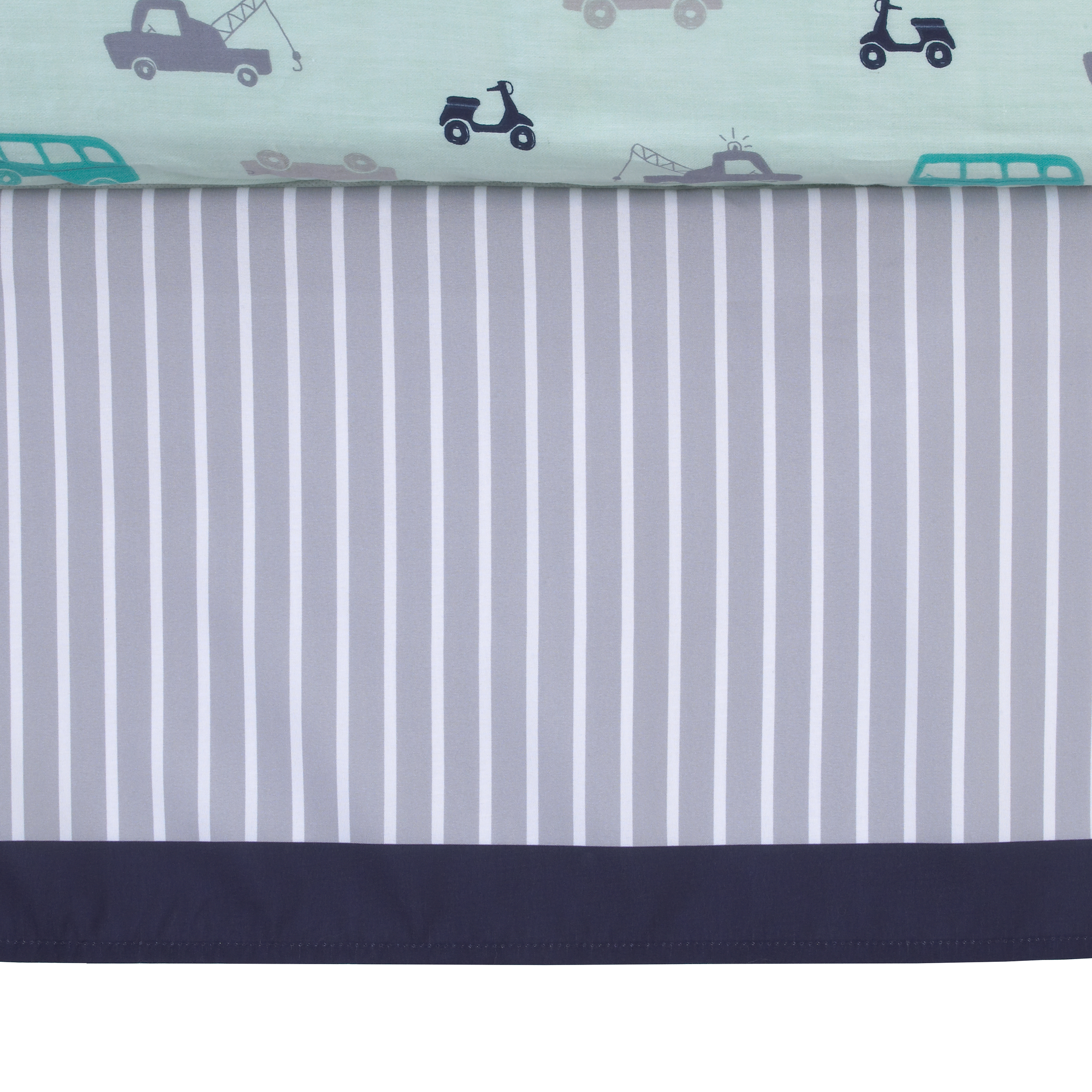 Child of Mine Boy Dust Ruffle, Grey White Navy Stripe, Cars collection