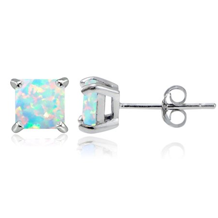 Sterling Silver Created Opal 5mm Square Stud (Sterling Silver Created Opal Earring)