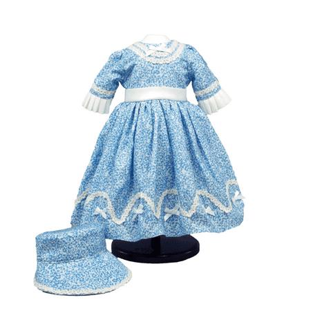 1800's Historic Style Sunday Blue Dress & Hat, Fits 18