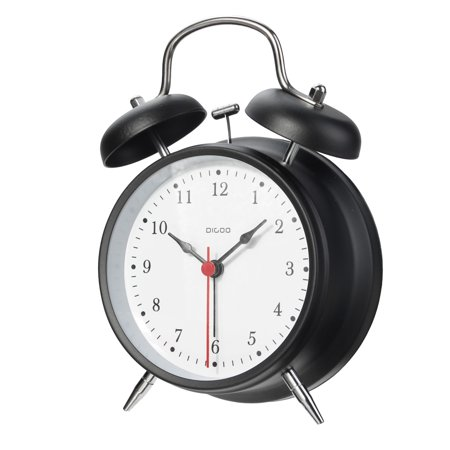 "4"" Retro Metal Twin Bell Alarm Clock Quartz Movement Night Light Battery - image 6 de 6"