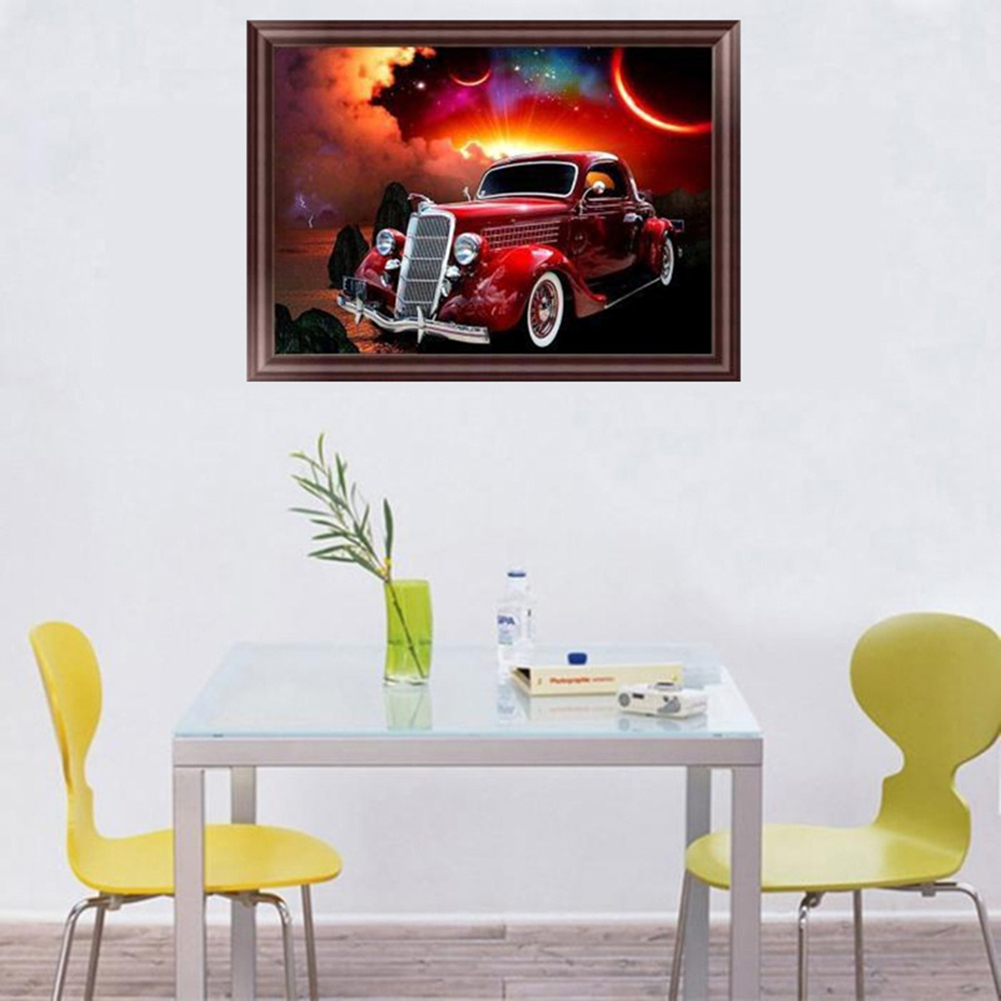 Girl12Queen Cool Car 5D Diamond Painting Cross Stitch Kit DIY Wall Craft Office Room Decor