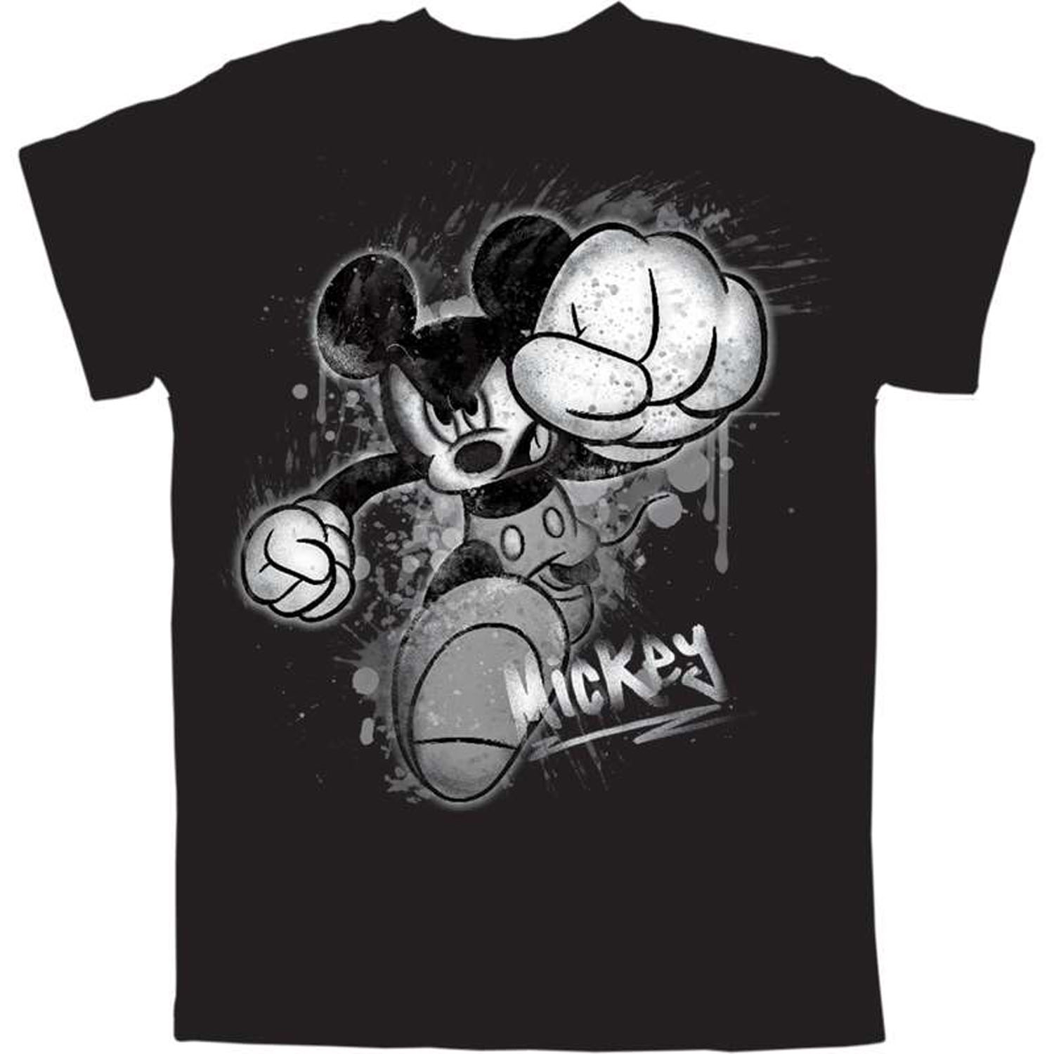 Disney Plus Size Mens Mickey Mouse Smash Black T Shirt