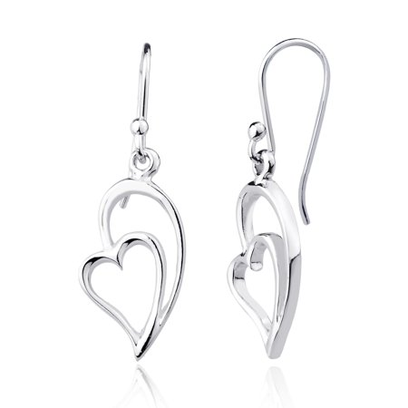 - Sterling Silver High Polish Heart w/ Half Heart Dangling Earrings
