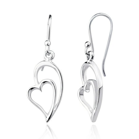 Sterling Silver High Polish Heart w/ Half Heart Dangling Earrings