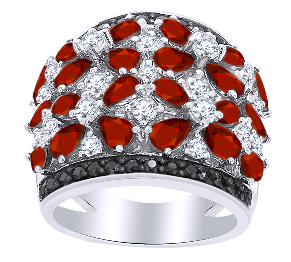 7.47 Ct Pear Shape Simulated Garnet, White Topaz & Black Spinel Band Ring in 14k White Gold Over Sterling Silver Ring... by Jewel Zone US