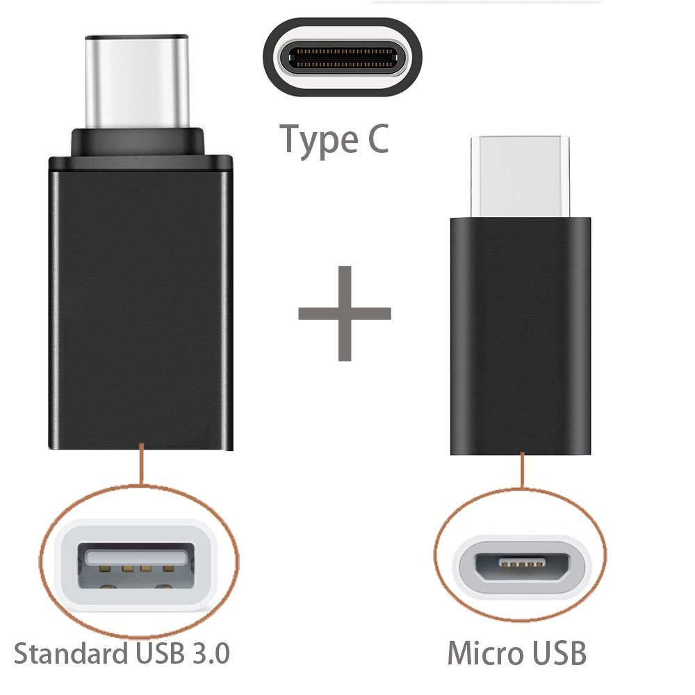 [2 in 1 Pack] Type C OTG, EpicGadget(TM) 1 Type C to USB Adapter + 1 Type C to Micro USB Adapter, Converts/Connects USB Type-C input/output to 3.0 USB/Micro USB, For Power/data/File transfer (Black)
