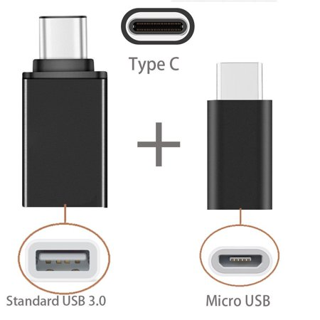 [2 in 1 Pack] Type C OTG, EpicGadget(TM) 1 Type C to USB Adapter + 1 Type C to Micro USB Adapter, Converts/Connects USB Type-C input/output to 3.0 USB/Micro USB,