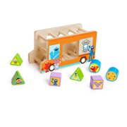 Bright Starts Sesame Street Foodie Truck Fun Wooden Shape Sorter Toy, Ages 18-36 months