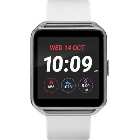 UPC 194366000054 product image for iConnect by Timex Silver-Tone Square Touchscreen Smartwatch, White Silicone Stra | upcitemdb.com