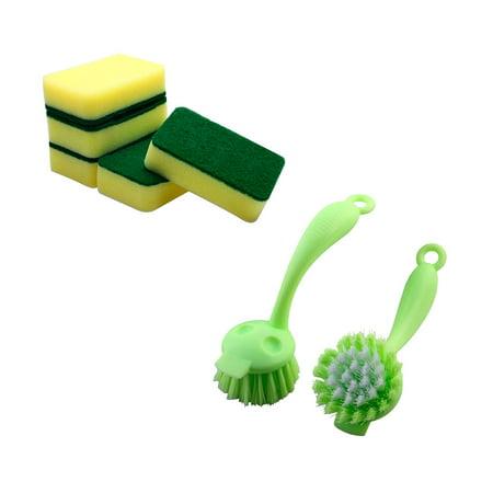 5 Pcs Sponge Rectangle Shape Bowl Dish Cleaning Pad Scourer and 2 Pcs Kitchen Pot Pan Grill Bowl Cleaning Scrub