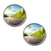 Zone Tech Pack of Two 2 Inch Stick-on Rearview Blind Sport Mirrors Aluminum Border Thin Car Mirrors