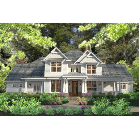 TheHouseDesigners-5219 Country Farm House Plan with Basement Foundation (5 Printed Sets)