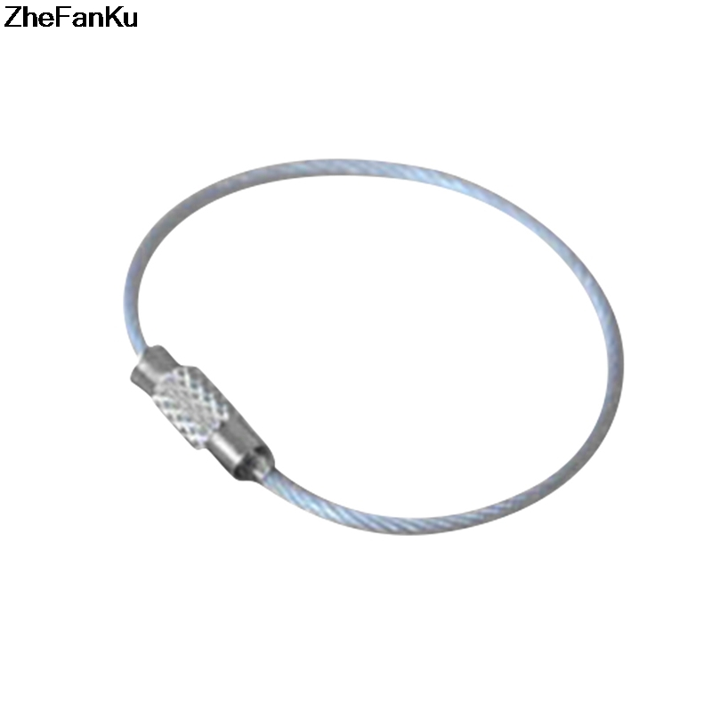 Stainless Steel Screw Locking Wire Keychain Cable Keyrings Key Holders