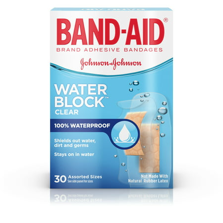 (2 pack) Band-Aid Brand Water Block Plus Waterproof Adhesive Bandages, 30 ct - Bandaid Sticker