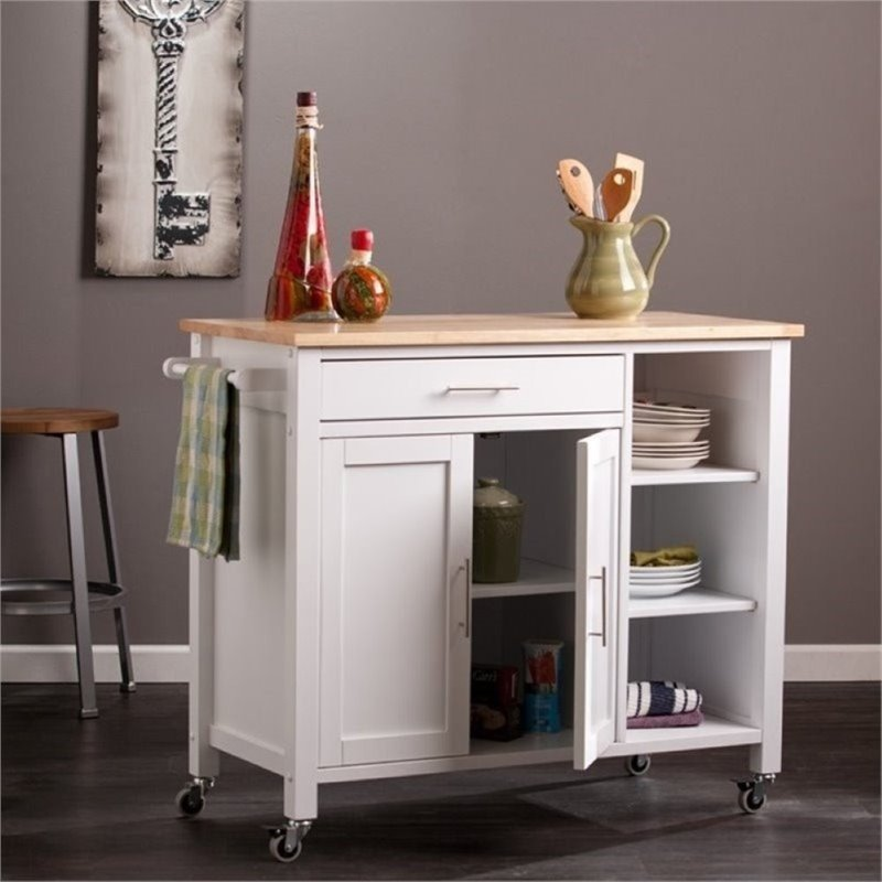 Bowery Hill Kitchen Cart in White