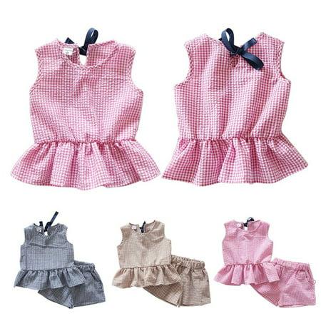 Soft Baby Sweet Girl (BOBORA S-2XL Kids Baby Girls Summer Casual Sweet Lattice Ruffles Vest Shirts + Shorts Plaid 2pc Clothes)