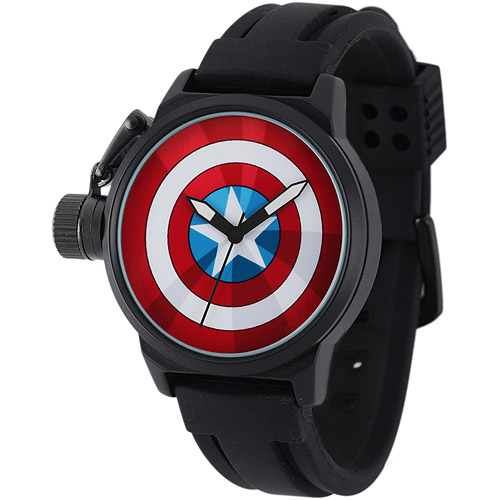 Captain America Men's Crown Protector Watch, Black Rubber Strap
