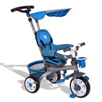 4-in-1 Detachable Baby Stroller Tricycle w/ Flat Canopy + Basket - Blue