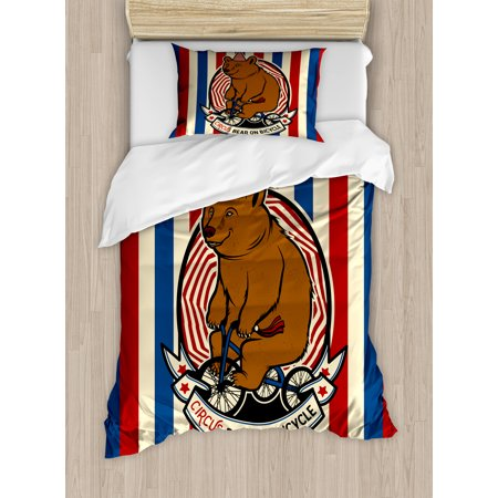 Bear Twin Size Duvet Cover Set, Circus Bear on Bicycle Carnival Theme Cute Mascot with Hat on Striped Backdrop, Decorative 2 Piece Bedding Set with 1 Pillow Sham, Ruby Blue - Carnival Themed Backdrop