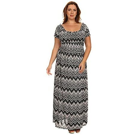 Plus Size Black White Chevron Wench Style Maxi Dress Usa 3x Plus