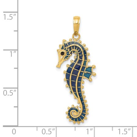 14K Yellow Gold 3-D Blue Enameled Seahorse Pendant - image 2 of 2