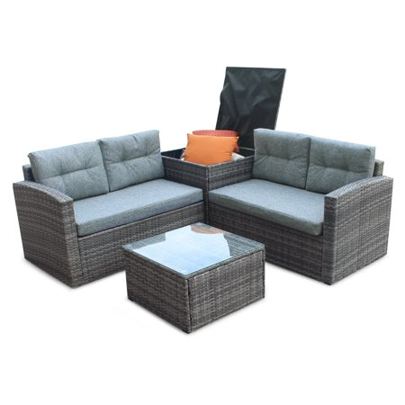 4 Piece Outdoor Furniture Wicker Patio Garden Dining Sets, Patio Furniture Rattan Furniture Sets Clearance with Seat Cushions & Tempered Glass Coffee Table, for Porch, Poolside, Backyard, S13094 ()