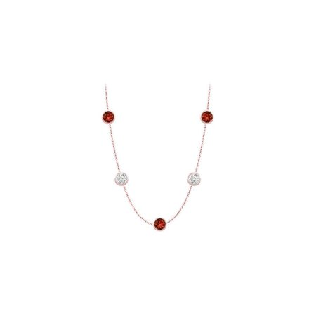 Garnet necklace with cubic zirconia 35 carat in 14k Rose Gold 36 inch long cable ch - image 2 of 2