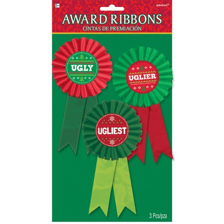 Ugly Sweater Contest Award Ribbons (3 Count) - Costume Contest Awards