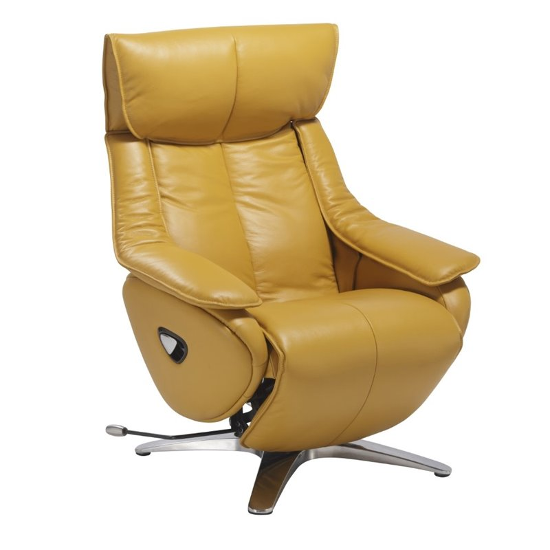 Mac Motion Vienna Leather Swivel Recliner in Yellow