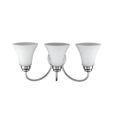 - CHLOE Lighting GETTY Transitional 3 Light Brushed Nickel Bath Vanity Wall Fixture Opal Glass 21.5