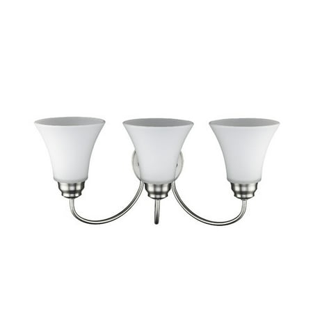 CHLOE Lighting GETTY Transitional 3 Light Brushed Nickel Bath Vanity Wall Fixture Opal Glass 21.5