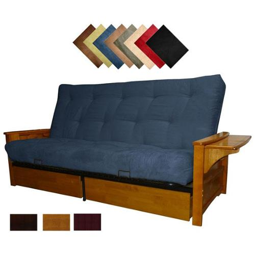 Bellevue Microfiber Suede Inner Spring Queen size Futon Sofa Bed Sleeper Walnut Finish Olive