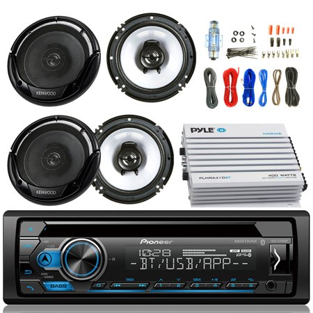 """Pioneer DEH-S4100BT Car Bluetooth Radio USB AUX CD Player Receiver - Bundle Combo With 2x Kenwood KFC1665S 6.5"""" Inch 300-Watt 2-Way Black Car Coaxial Speakers + 4-Channel Amplifier + Amp Install Kit"""